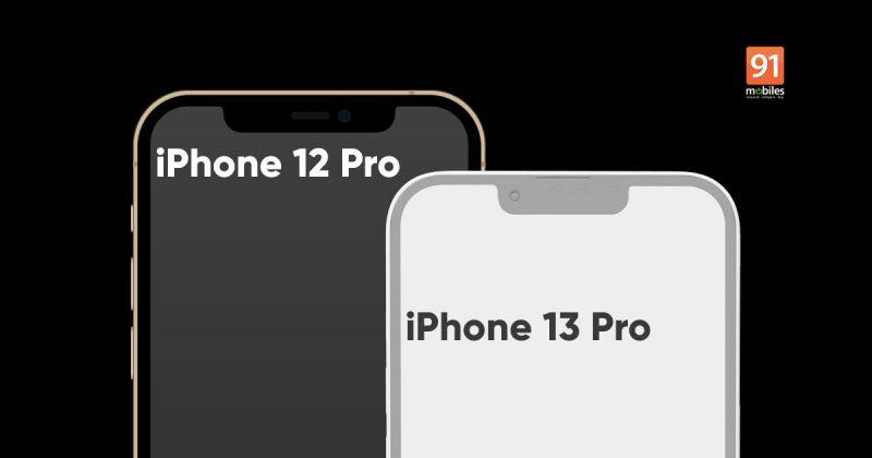 iPhone 13 -malleissa näyttöloven odotetaan kaventuvan selvästi. Kuva: 91mobiles.
