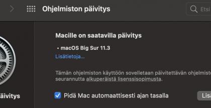 macOS Big Sur 11.3 on nyt saatavilla.