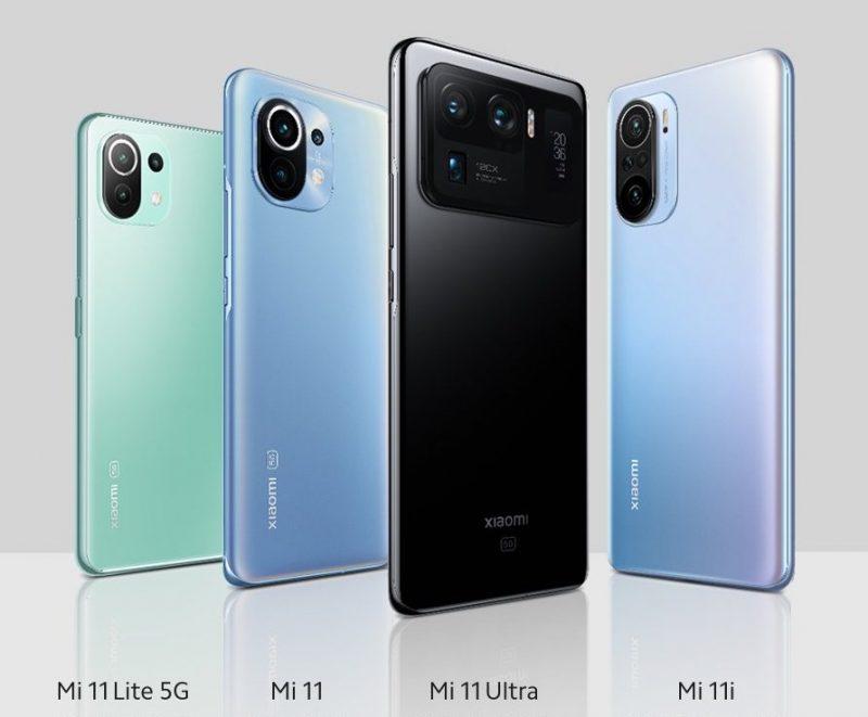 Mi 11 saa rinnalleen Mi 11 Lite 5G:n, Mi 11i:n ja Mi 11 Ultran.