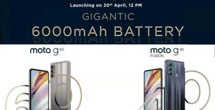 Motorola vahvisti Moto G60:n ja Moto G40 Fusionin julkistuksen Intiassa 20. huhtikuuta.
