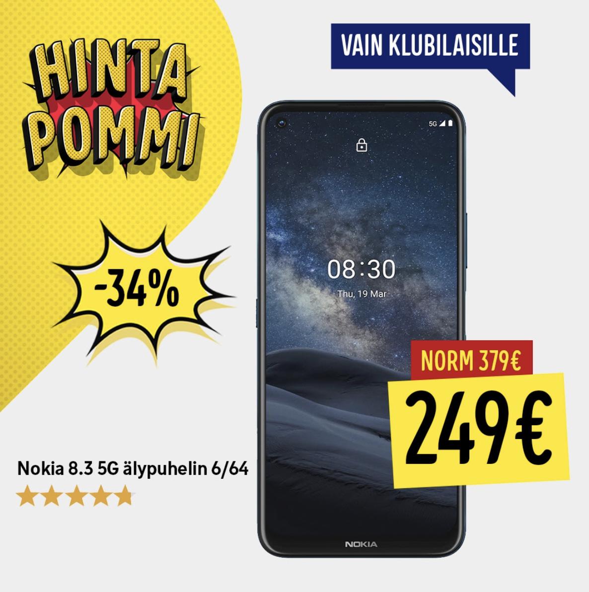 Nokia 8.3 5G on tiistaina hintapommitarjouksessa Gigantilla hintaan 249 euroa.