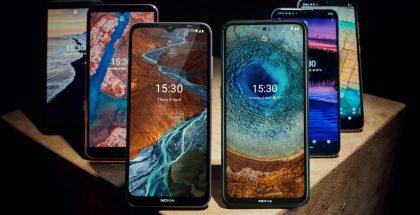 Kuvassa Nokia-älypuhelimet C10, C20, G10, G20 ja X10 ja X20.
