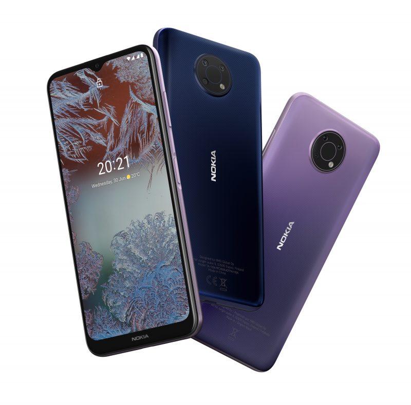 Nokia G10 kahtena värivaihtoehtonaan.