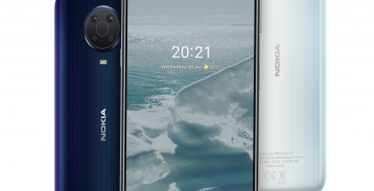 Nokia G20 kahtena värivaihtoehtonaan.