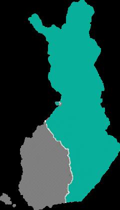 Suomen Yhteisverkon alue rakennusprojektin valmistuessa vuoden 2023 lopulla.
