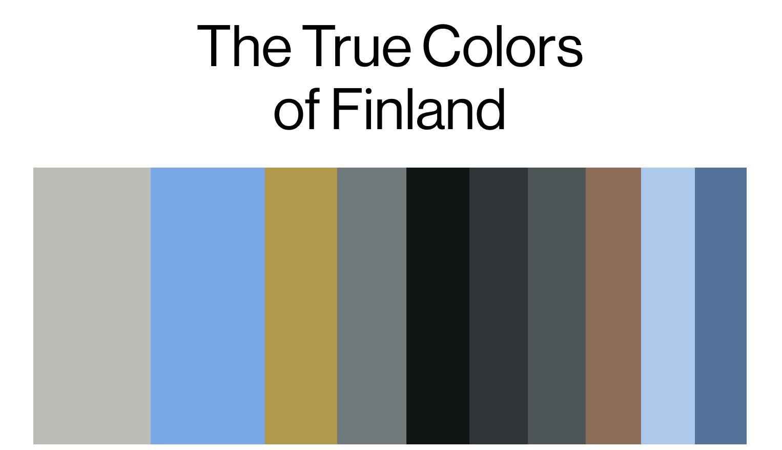Toistaiseksi jaetuista kuvista koostettu Suomen väripaletti.