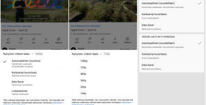 YouTuben uudet videolaadun valinnat.
