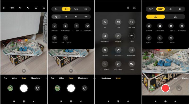 Xiaomi Mi 11i:n kamerasovellus on monipuolinen.