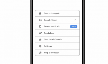 Google tulee tarjoamaan uuden valinnan, jolla voi poistaa viimeisen 15 minuutin hakuhistorian.