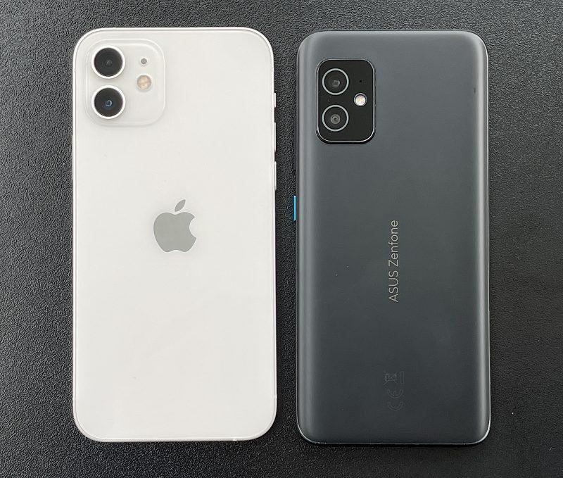 iPhone 12 on hieman lyhyempi mutta levyempi kuin ZenFone 8.