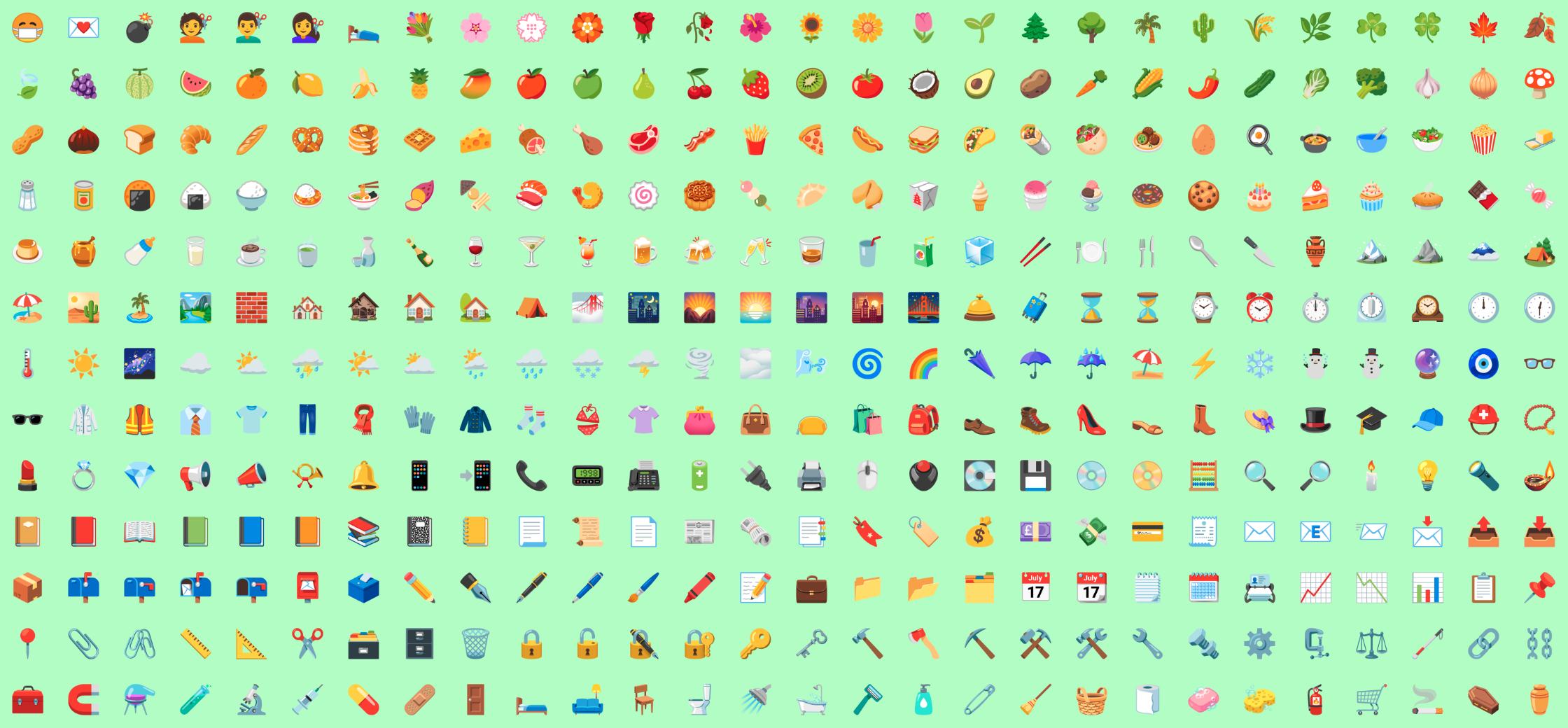 Kaikki Android 12:n ensimmäisessä Betassa uudistuneet emojit. Kuva: Emojigraph.