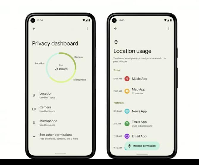 Android 12:n uusi yksityisyysasetusten keskus.
