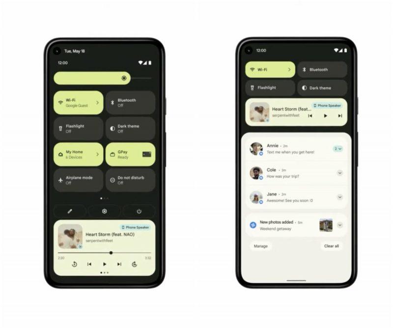 Android 12:n pika-asetus- ja ilmoitusnäkymä.