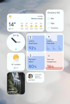 Android 12:n widgetejä.