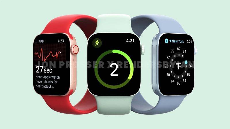 Tällaista Apple Watch Series 7:stä odotettiin tasaisemmilla kyljillä ja näyttölasilla. Kuva: Jon Prosser / RendersByIan.