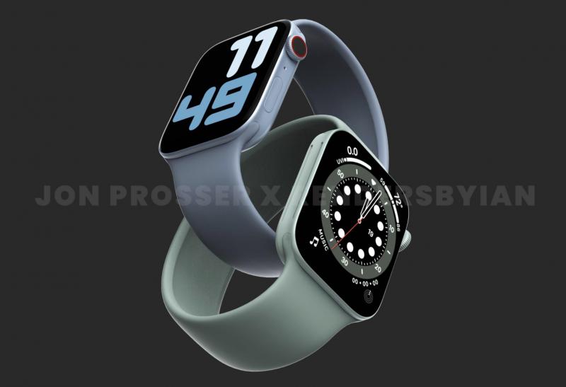 Tasaisemmat kyljet ja vihreä väri ovat odotusten mukaan Apple Watch Series 7:n uudistuksia. Kuva: Jon Prosser / RendersByIan.