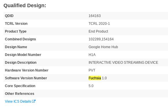 Nest Hub / Google Home Hub Bluetooth-tietokannassa Fuchsia-käyttöjärjestelmällä.