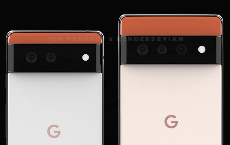 Pixel 6:ssa pitäisi olla kaksi, Pixel 6 Prossa kolme takakameraa. Kuva: Jon Prosser / RendersByIan.