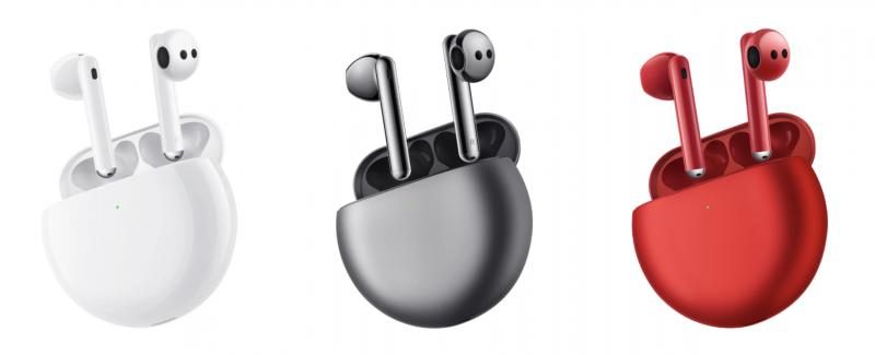 FreeBuds 4 -kuulokkeiden kolme värivaihtoehtoa.