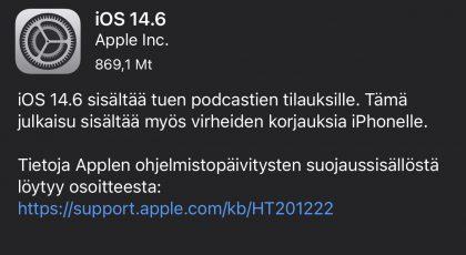 iOS 14.6 on nyt ladattavissa.