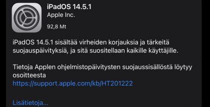iOS ja iPadOS 14.5.1 ovat nyt saatavissa.
