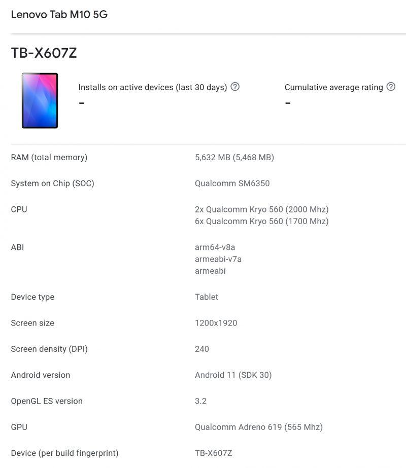 Lenovo Tab M10 5G:n tiedot Google Play Console -laitetietokannassa.