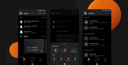 Tumma tila Microsoft Office -Android-sovelluksissa.