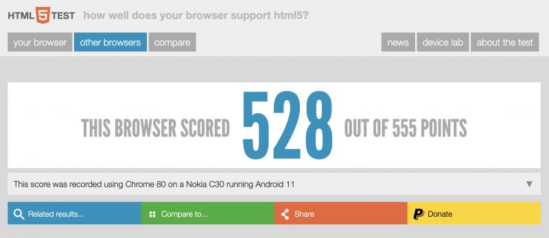 Nokia C30 mainittu HTML5testissä.