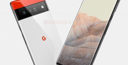 Uusiin Pixel 6 -puhelimiin Googlelta odotetaan massasta erottuvaa designia kaksivärisellä takapinnalla, jonka jakaa koko leveyden kattava kamerakohouma. Tässä huippumalli Pixel 6 XL tai Pixel 6 Pro. Kuva: OnLeaks / Digit.in.