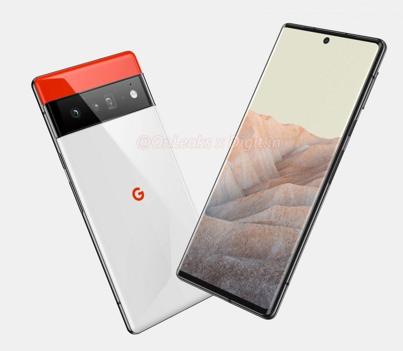Uusiin Pixel 6 -puhelimiin Googlelta odotetaan massasta erottuvaa designia kaksivärisellä takapinnalla, jonka jakaa koko leveyden kattava kamerakohouma. Kuva: OnLeaks / Digit.in.