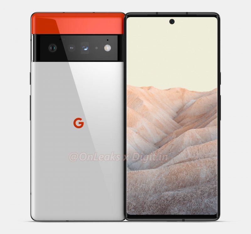 """Huippumallin """"Pixel 6 Pro"""" odotetaan sisältävän kolme takakameraa, mukaan lukien periskooppirakenteisen telekameran. Kuva: OnLeaks / Digit.in."""