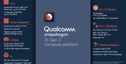 Qualcomm Snapdragon 7c Gen 2:n ominaisuuksia.