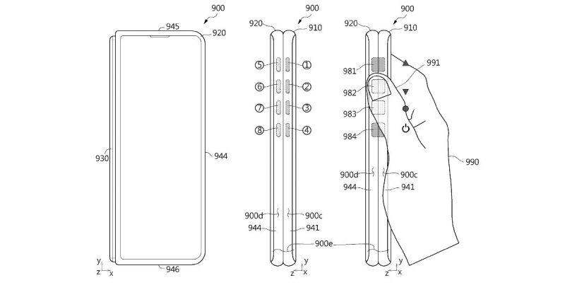 Samsungin patenttikuva taittuvanäyttöisestä laitteesta virtuaalisilla painikkeilla kyljellä.Samsungin patenttikuva taittuvanäyttöisestä laitteesta virtuaalisilla painikkeilla kyljellä.