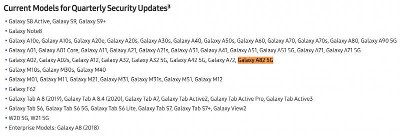 Galaxy A82 5G on jo mainittu Samsungin päivityssivulla.