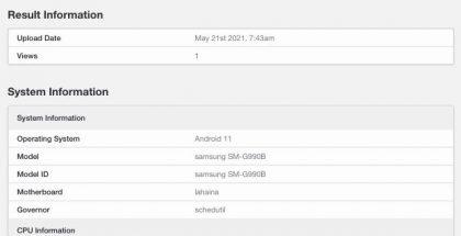 Odotettu Galaxy S21 FE eli SM-G990B GeekBench-suorituskykytestin tietokannassa.