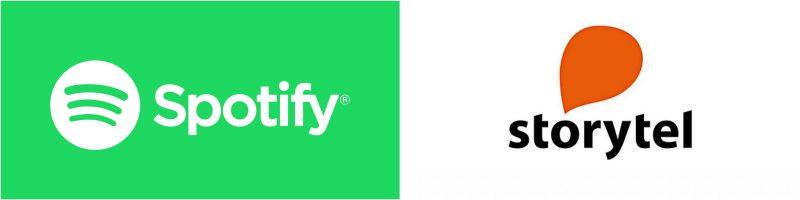 Spotify Storytel logot.