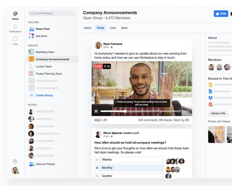 Workplace on käytännössä yritysten sisäiseen viestintään tarkoitettu versio Facebookista.