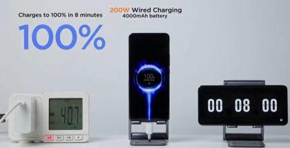 Xiaomin 200 watin langallinen pikalataus täyttää 4 000 milliampeeritunnin akun 8 minuutissa.