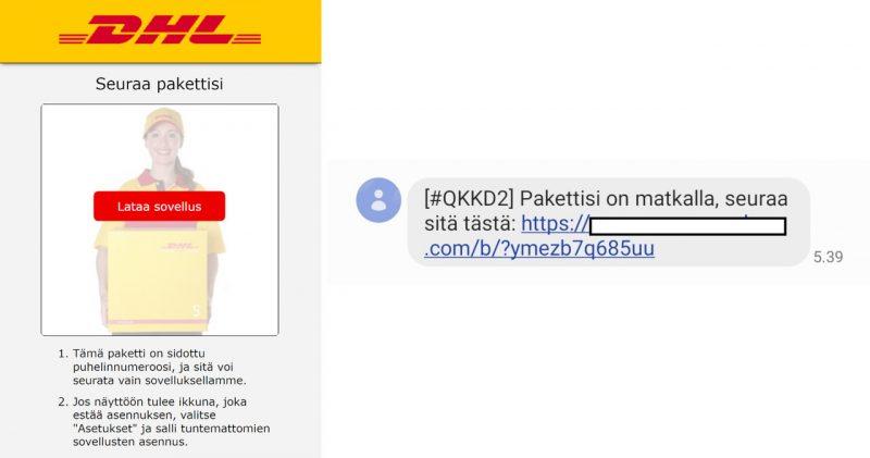 Esimerkiksi tällainen voi olla FluBot-haittaojelman levittämiseen käytettävä verkkosivu ja tekstiviesti.