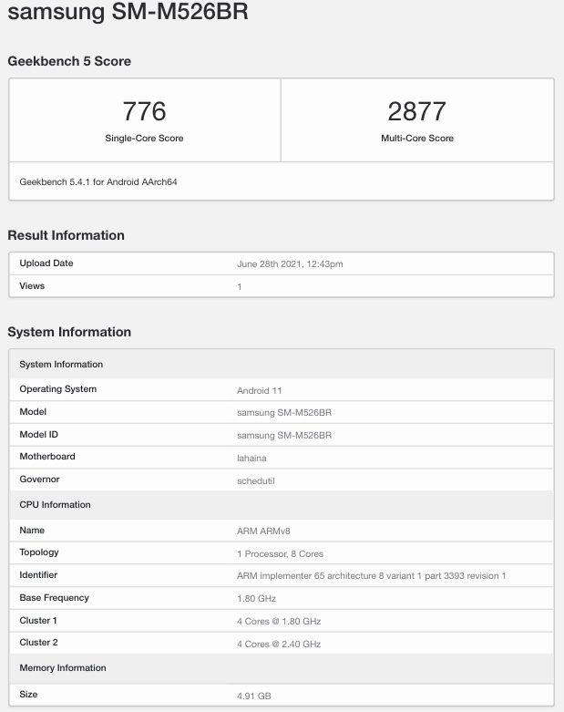Samsung SM-M526BR eli Galaxy M52 5G GeekBenchin tietokannassa.