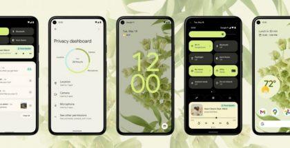 Android 12:n eri näkymiä vihreällä teemalla.