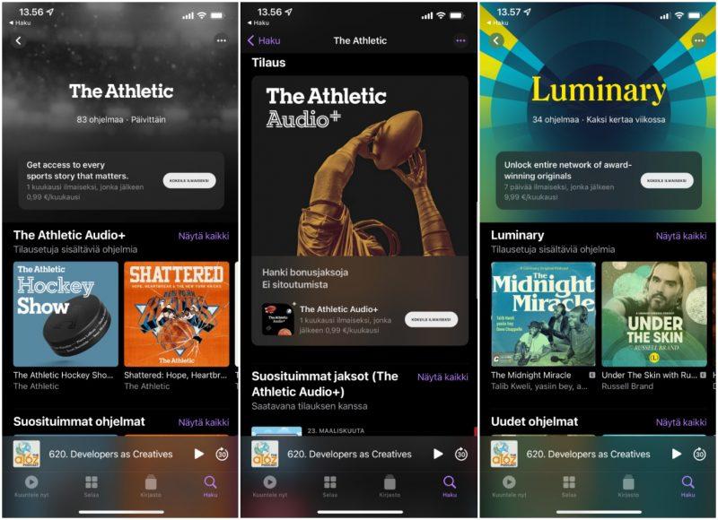 Applen Podcastit-sovelluksen kautta on nyt tarjolla maksullisia tilauksia.