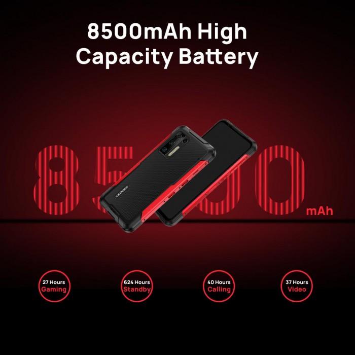 Doogee S97 Pron 8 500 milliampeeritunnin akusta riittää virtaa 27 tunnin pelailuun, 40 tunnin puheluihin, 37 tunnin videokatseluun tai 624 tunnin valmiusaikaan.
