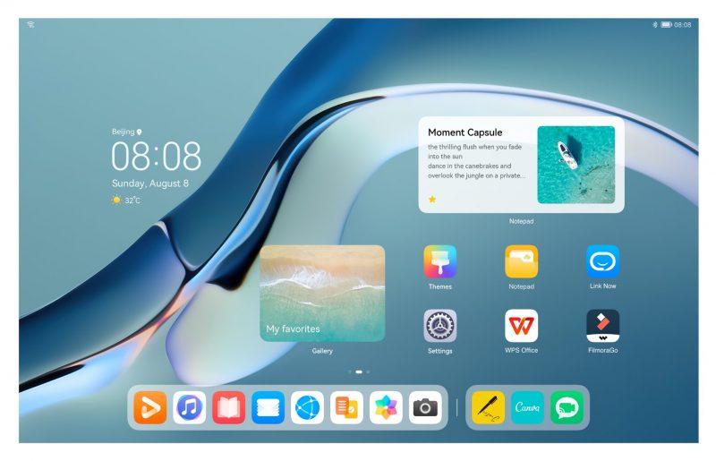 HarmonyOS -kotinäkymä tablettilaitteessa.