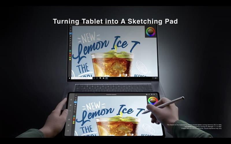 HarmonyOS-laitetta voi käyttää myös piirrosalustana tietokoneelle.