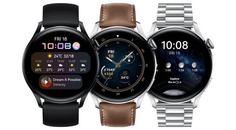 Huawei Watch 3: Active Edition, Classic Edition, Elite Edition.