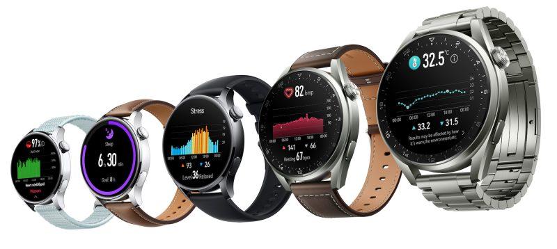 Huawei Watch 3 ja Watch 3 Pro eri tyyleissä.