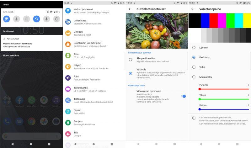 Kuvakaappauksia Xperia 10 III:n Android-ohjelmistosta ja näyttöasetuksista.