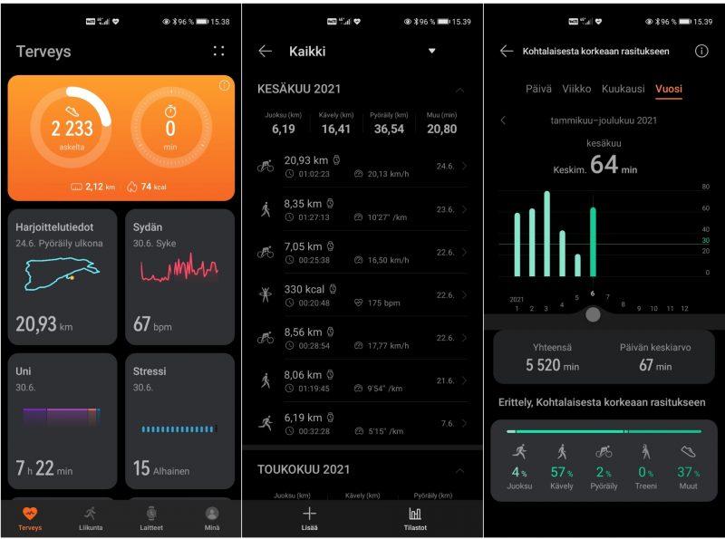 Yleisiä terveysnäkymiä Huawei Healthissa.
