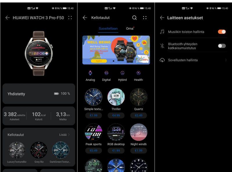 Kellojen asetuksia voi muokata Huawei Healthista. Sovelluksessa on esimerkiksi satoja kellotauluja.